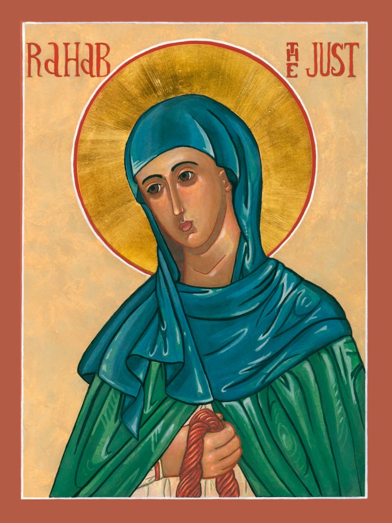 "The iconographer, Carol Adele-Jewett, a member of our congregation, wrote this statement in 2011, ""As I was pondering your Lenten theme of the abuse of women, I remembered an Icon I recently painted for a friend who requested it. It is rather unusual without a lot of historical precedent… It is an icon of Rahab. As a prostitute who betrayed her town to the invading Hebrews in promise for safety for herself and family – and then became an ancestor of Jesus – she is an interesting example of the ways in which women in all ages have dealt with and often overcome an abusive situation. I find her a troubling figure in many ways, not because she was a prostitute but because she seems very willing to sell out her town and neighbors. An enigma."""