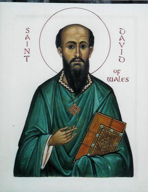 When the pagan Angles, Saxons and Jutes successfully invaded Britain in the 5th century, there was one place they didn't conquer: Wales, where Christianity lived on. David had founded a monastery at Menevia and become its abbot; despite his wishes he was eventually elected bishop, then Primate. His hometown, still a see city, is now called Ty-Dewi, the House of David. (Aidan Hart)