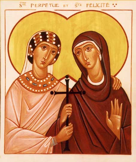 Perpetua and Felicity were catechumens preparing for baptism when they were martyred with three men in modern-day Tunisia. She is said to have authored a memoir of their many tribulations in prison, and of holy visions she and others received. Perpetua was a young married noblewoman, while Felicity was a slave. (Brotherhood of the Holy Trinity)
