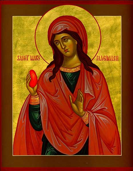 Mary Magdalene was the first witness to the resurrection. An Orthodox legend holds that she took boiled eggs to share with her sisters as they gathered at Jesus's tomb. When she beheld the risen Christ, the eggs in her basket turned red - the first Easter eggs.