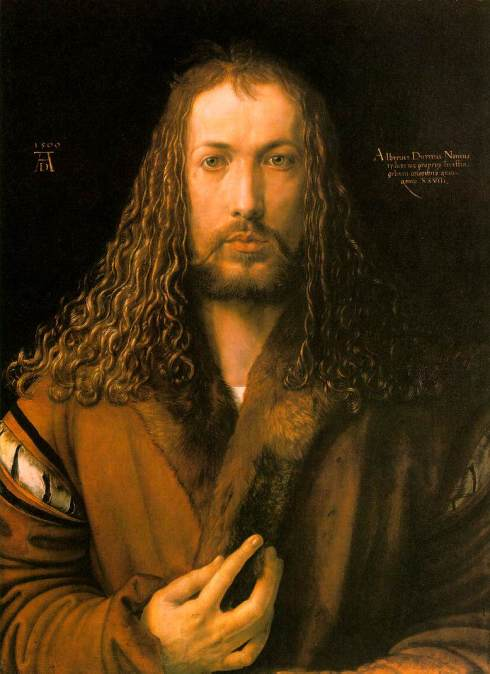 "Albrecht Dürer's ""Praying Hands"" are very famous, but this is what he looked like to himself; a self-portrait at age 28."