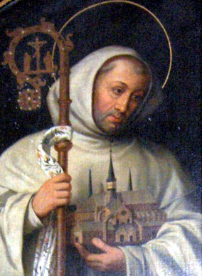 Bernard, a charismatic leader, was born near Dijon, France, the son of a knight and landowner. At 23 he entered a Benedictine abbey. Two years later he talked four of his brothers and 26 friends into helping him establish a Cistercian abbey at Clairvaux, from which grew 60 more Cistercian communities. The Cistercians emphasized manual labour and self-sufficiency, though over the centuries academics and education came to dominate their monastery life. A faction of Cistercians known as Trappists then sought to return to their agricultural ways, and are called Cistercians of the Strict Order; Thomas Merton was one. (artist unknown)