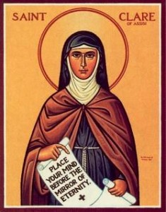 Clare was the first female follower of St. Francis of Assisi. She asked to join his order, but he put her in charge of her own for women, known as the Poor Clares.