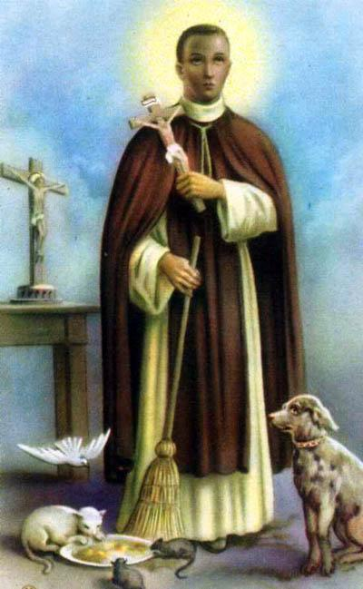 Martin de Porres, who was half-black, was a faithful servant of the Dominican order in Peru – so faithful that they dropped their racist rule that only whites could be members, and made him one of them. He was known for his tender care of the sick and his spectacular cures.