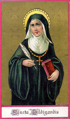 At a time when few women wrote, Hildegard produced major works of theology and visionary writings. When few women were respected, she advised bishops, popes, and kings. She used the curative powers of natural objects for healing, and wrote treatises about the medicinal uses of plants, animals, trees and stones. She is the first musical composer whose biography is known. (artist unknown)