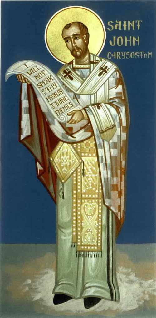 """John """"the golden voice"""" was an eloquent preacher, though his episcopate was stormy; he inveighed against the adulation of a new statue of the empress, and she banished him. He died in exile.(Nicholas Papas)"""