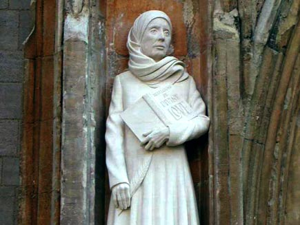 Margery Kempe experienced intense heavenly visions followed by bouts of depression, through which she was guided by Dame Julian of Norwich. Kempe made pilgrimages to Canterbury, the Holy Land and Santiago de Campostela, and developed deep compassion for ths sins of humanity. (source unknown)