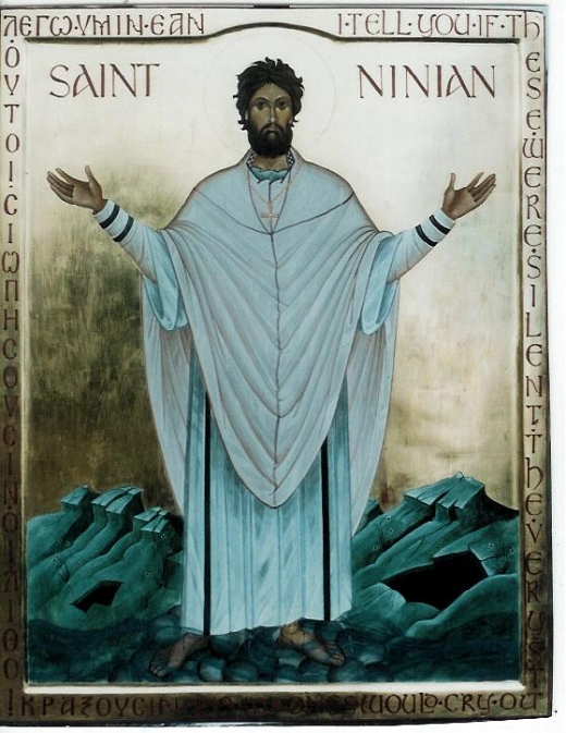 Ninian was a bishop and monk who evangelized in England's Lakes district and among the Picts of northern Scotland. He was a disciple of St. Martin of Tours, and is said to have been ordained in Rome, thus embodying links between Celtic Christianity and the Anglo-Roman version which replaced it. (iconographer unknown)
