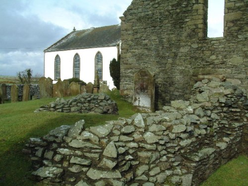 "Excavated remains of St. Ninian's chapel at Whithorn, Scotland, the ""little white house"" which was his base of operations. He dedicated it to his mentor, St. Martin of Tours, his role model for a missionary bishop-monk."