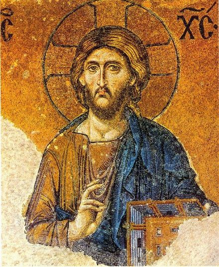 Christ Pantokrator mosaic in the Hagia Sophia museum, Istanbul. Pantokrator is a translation from Hebrew to Greek for one of the many names of God the Father; Christ Pantokrator identifies Father and Son as one.