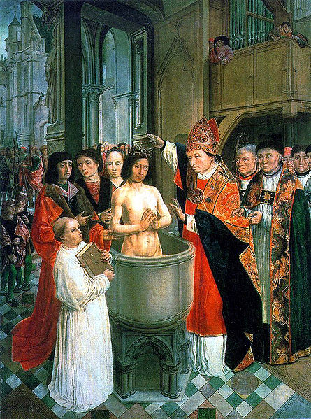 The Master of St. Gilles: St. Remigius Baptizes Clovis. Clovis was the king of the Franks, and his decision to be baptized in the Catholic religion had several effects; it helped put an end to the Arian heresy promoted by Germanic rulers, strengthened French independence and assisted Gregory the Great in his evangelistic efforts with the English. With France in the Catholic column, St. Augustine only needed a short Channel hop to make Dover and Canterbury.