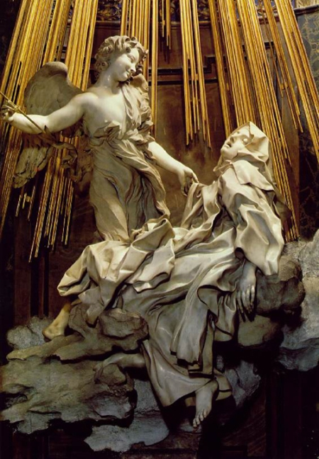 """Gian Lorenzo Bernini: The Ecstasy of St. Teresa. She is famous as a mystic who received fantastic visions, but there's more to her than that; she was a missionary and administrator who founded 17 convents of Reformed or """"discalced"""" (barefoot) Carmelites, whose ascetic piety provided the framework she felt was necessary to enable the sisters to develop true faith. (And yes, it may be true that she flew.) Perhaps the most important thing to think about is the ecstasy this artwork tries to depict; what is our own experience of being transported by the love of God? Was it by music, writing, art, mission? What makes you fly? Teresa wasn't the only one; you've done it too."""