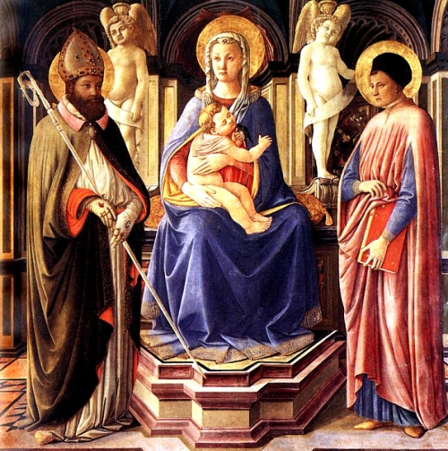 Virgin and Child with Saints Clement and Justin. Clement was the second or third Bishop of Rome, ordained by Peter to administer the church in Rome while Peter devoted himself to prayer and preaching. Clement is the only Bishop of Rome to have a Russian Orthodox church named in his honor, showing how wide his veneration has always been. (Master of the Castello Nativity, 1449-50)