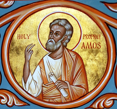 """Amos, a Judean farmer in the 8th century B.C., denounced the lavish wealth of Israel in vivid language, bitterly describing the decadent opulence, immorality and smug piety of elites who """"trampled the head of the poor into the dust of the earth."""" Years ago in Church Army training, Amos was our thematic introduction to the entire Old Testament. (iconographer unknown)"""