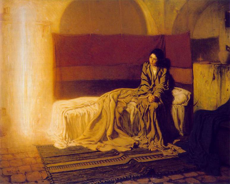Henry Ossawa Tanner (d. 1937): The Annunciation. This painting, very different from the Renaissance devotionals, illustrates how completely frightening it must have been to Mary to have the angel Gabriel appear in her room.