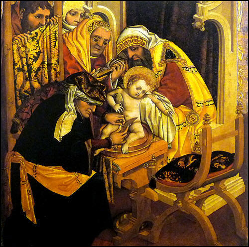 Rembrandt: Circumcision. Jesus received his bris (and thus his name and identity) on the 8th day after his birth according to Jewish custom.