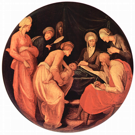 Jacopo Porntormo: Birth of John the Baptist, with his father Zechariah writing down the baby's name.
