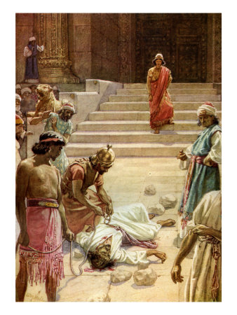 The stoning of Zechariah, son of Barachiah, centuries before the stoning of Zechariah the prophet, son of Jehoiada, described below. (douglasbeaumont.com)
