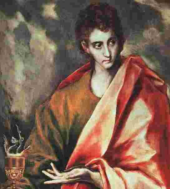 "El Greco: St. John. He clearly had an understanding of the loving nature of God that we don't get from any other Gospel writer. Yes, they all speak of it, but not like he does. He's generally considered ""the disciple Jesus loved."""