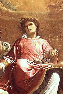 Giacomo Cavedone: St. Stephen. Paul approved of his being stoned to death, but Stephen's witness was a prime factor in Paul's conversion; he found out how deadly wrong he was and spent the rest of his life atoning for his mistakes.