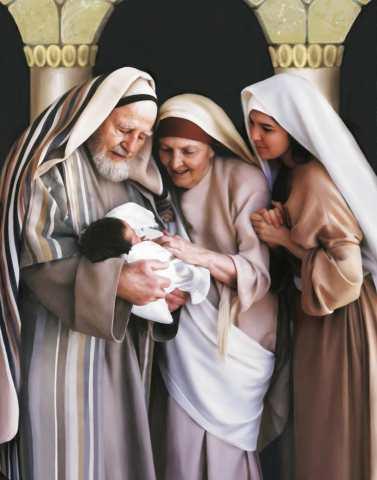Zechariah, Elizabeth, Mary and John (artist unknown)