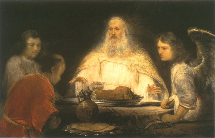 Aert (or Arent) de Gelder: Abraham and Three Angels, illustrating Middle Eastern hospitality and the principle of finding God in everyone we meet.