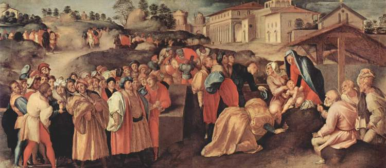 Jacopo Pontormo: Adoration of the Magi. The lesson of this busy scene is that it wasn't just the Magi who visited Christ, but through them the whole world.