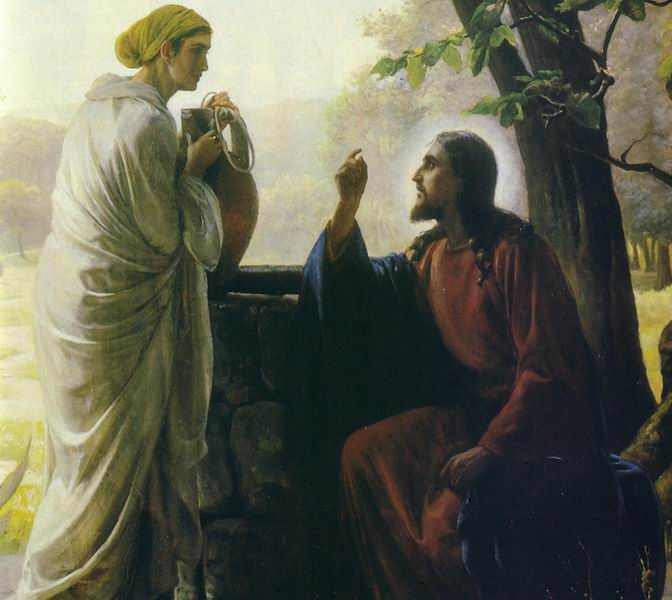 Jesus doesn't judge the Samaritan woman; she's quite faithful, even though she's female, belongs to the wrong tribe, has been married five times and now is living with a sixth man. Indeed, Jesus reveals himself to her despite their huge differences in status; he seems to be impressed with her honesty. (artist unknown)