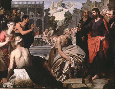 """The disabled man waited by the pool at Bethesda for 38 years, but no one would help him get in. When the Holy Spirit """"stirred up"""" the water, the first one in would be healed, but he was never fast enough. God continually calls for more helpers, but we have to tune in and step forward. (artist unknown)"""
