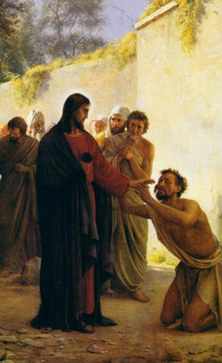 Healing a blind man. Christ's miraculous power can be difficult for modern minds; we've all known cases where someone dies despite a whole community's prayers, yet it's hard to find a recovering addict who won't tell you their Higher Power saved them from certain death. (artist unknown)