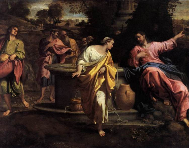 Carracci: Christ and the Samaritan Woman. Jews despised Samaritans and avoided all contact with women, but he not only spoke to this woman, he was willing to share a cup with her.