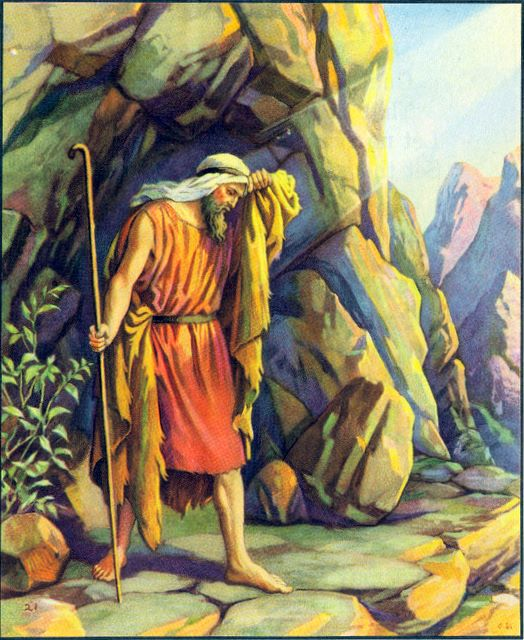 Some people don't understand what an important figure Elijah is in the Old Testament. He raised people from the dead; ascended bodily into heaven; and his return was prophesied as the forerunner to the Messiah. Here he is, standing at the entrance to the cave where he's taken refuge from God's enemies. (artist unknown)