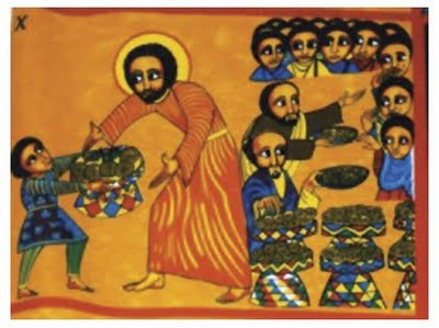 The feeding of the 5000 is the only miracle of Jesus recorded in all four Gospel accounts. The feast is seen as a replacement for the Passover and a foretaste of Holy Communion; the leftovers are gathered at his command and fill 12 baskets, the same number as the months of the year (and the apostles). This Ethiopian icon is the only one I've found that depicts the boy; he offers seven foodstuffs.