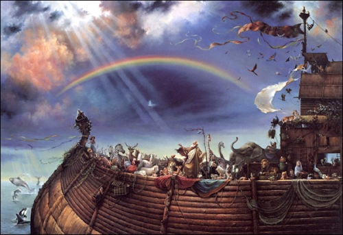 The Great Flood was so destructive that people decided God must have intended to destroy every living thing, a belief Genesis acknowledges. But Noah's Ark indicates otherwise, and the story ends with the first covenant between God and humanity. (artist unknown)