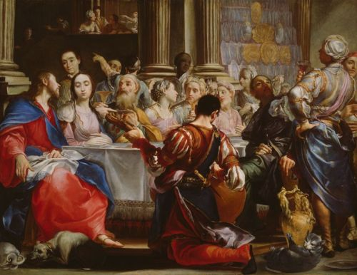 Giuseppe Maria Crespi, c. 1686: Wedding at Cana. Jesus, at left, has a dog underfoot. (Art Institute of Chicago)