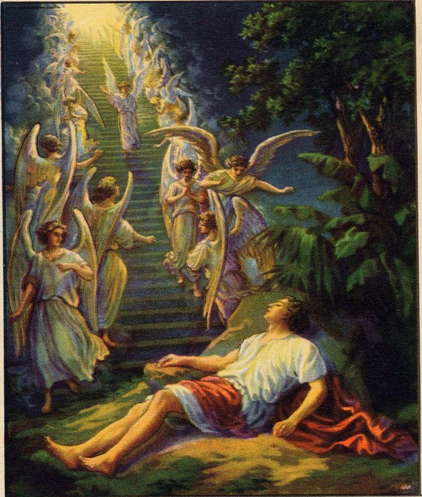 "Jacob's ladder, or more accurately a staircase; artist unknown. The Oxford Annotated NRSV says this ""suggests the ancient view that a sanctuary was a place where the god came to earth."" The LORD's speech gives enormous comfort to Israel."