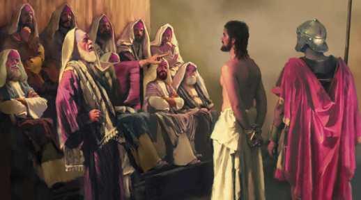 Jesus on trial. (artist unknown)