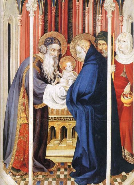Melchior Broederlam: Presentation of Christ. The priest who received the baby Jesus was named Simeon, whose song, the Nunc dimittis, hails him as Savior.