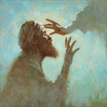 Bartimaeus; artist unknown. So much art focuses on Christ's act of healing, but this work fastens instead on what it is like to receive his touch.