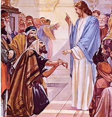 Jesus heals a man with a withered hand. (artist unknown)