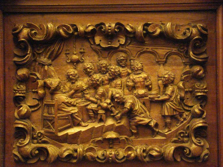 Workshop of Salvador de Campo, 1700-01: Joseph Dines with His Brothers, carving on choir stalls at Old St. Augustine Church, México City. (Click to enlarge.)