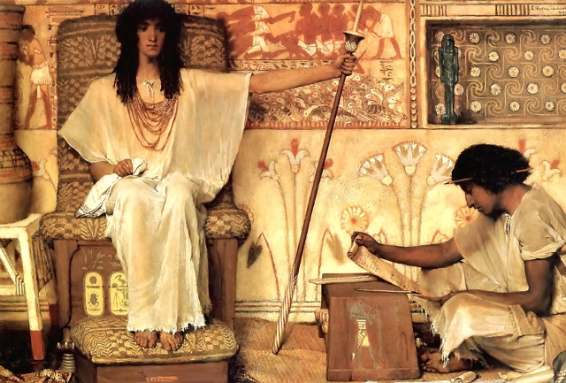 Sir Lawrence Alma-Tadema (d. 1912): Joseph, Overseer of Pharaoh's Granaries. (Click to enlarge.)