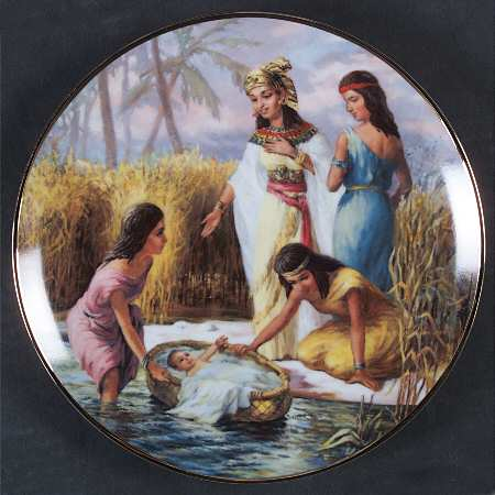 Moses in the bulrushes or reeds. Bible commentaries often draw a parallel between Moses' basket and Noah's ark.