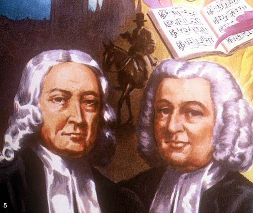 "John and Charles Wesley were both Anglican priests. As students at Oxford University in England, they underwent a conversion experience, developing a rigorous spiritual discipline others dubbed ""the Method""; it included everyday use of the Daily Office and frequent participation in Holy Communion. They were committed to spreading this discipline to unchurched people, especially in the American colonies, employing circuit-riding believers who preached wherever they could find an audience. This practice was uniquely suited to a growing, frontier country of aboriginal peoples and immigrant pioneers. The Wesleys' Method achieved explosive growth in the USA and spread from there to most parts of the world. (artist unknown)"