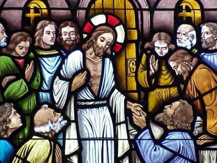 The risen Christ shows himself to the apostles. (source unknown)