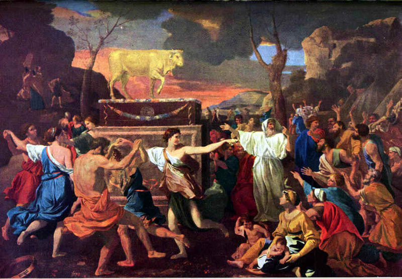 Nicolas Poussin, 1633-34: Adoration of the Golden Calf. The revelry described in the story is apparent here. Rehoboam splits the nation into northern and southern kingdoms, as Jeroboam manipulates religion to gain political advantage. How often have we seen this in our own lifetimes!