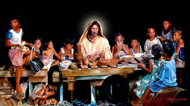 Joey Velasco: Table of Hope. The artist met these hungry children in Manila and Quezon City, the Philippines, fed them and took their photographs, then painted them into his Last Supper. These kids, he said, were all so hungry that a day's bowl of rice wasn't enough.