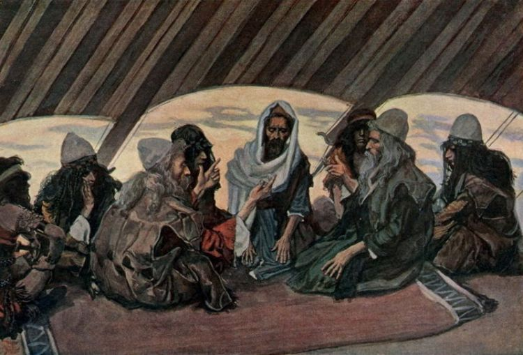 James Tissot, c. 1896-1900: Moses and Jethro