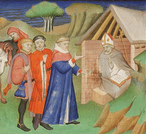 Illuminated manuscript, French, 1400-1410: St. Alphege Asked for Advice. He was captured by Viking pirates from Denmark who demanded a ransom; he refused to let his burdened people pay.