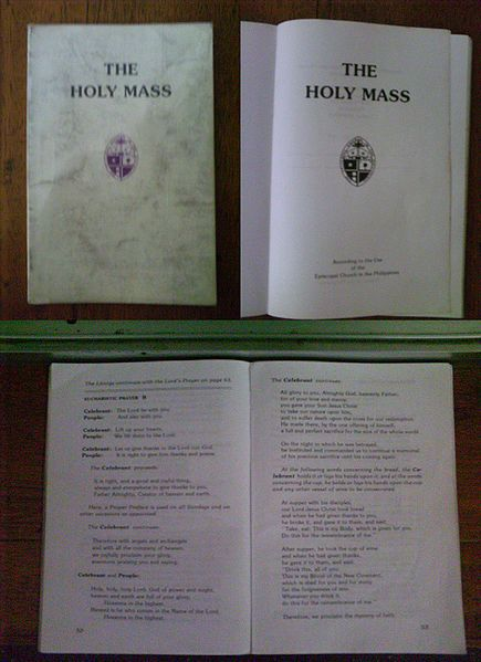 Until recently the official Prayer Book of the Episcopal Church of the Philippines was the same as the American one, but local variation is also present, depending on language needs and culture. The Church has grown in mission beyond its expatriate beginnings and is now largely indigenous among the peoples and communities of the islands. The Mass Book above is an excerpt for use on Sundays.